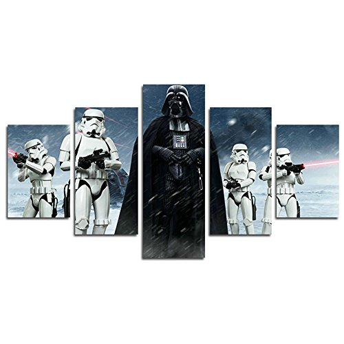 Leyrus 5 Piece Star Wars Darth Vader Painting for Living Room Home Decor Canvas Art Wall Poster (No Frame) Unframed YSH053 50 inch x30 inch (5 Piece Canvas Wall Art Star Wars)
