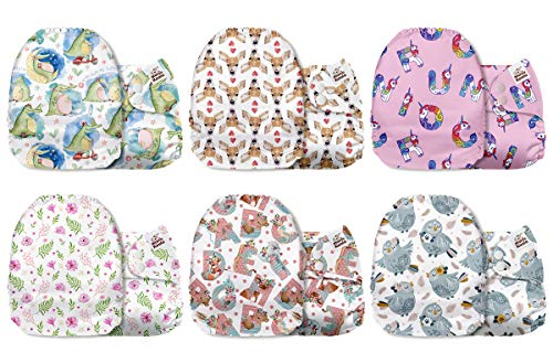 Lets Go Camping 6 Pack with 6 One Size Microfiber Inserts Mama Koala One Size Baby Washable Reusable Pocket Cloth Diapers