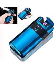 ولاعة بلازما كهربائية مزدوجة القوس الكهربائي الكهربائي القابل لإعادة الشحن من BECROWMUS - ولاعة سجائر بدون لهب صامد للرياح، كابل USB، صندوق هدايا أنيق، شاحن أزرق لاسلكي