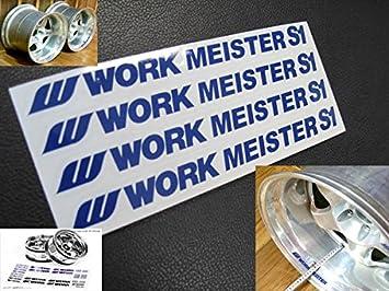 4 PCS WORK MEISTER S1 SPOKE DECAL STICKER WHITE RACING WHEELS RIMS NUTS VINYL
