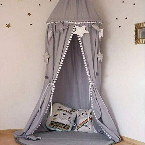 - Gotian Cotton Bed Curtain, Kid Baby Bed Canopy Bedcover Mosquito Net Bedding Round Dome Tent (Gray)