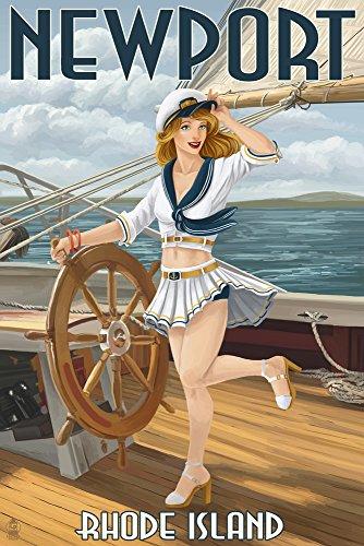 Newport, Rhode Island - Pinup Girl Sailing (9x12 Collectible Art Print, Wall Decor Travel - Kids For Ri Newport