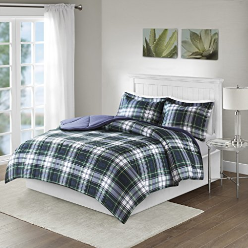 Madison Park Essentials Parkston Down Alternative Comforter Mini Set, Full/ Queen, Navy