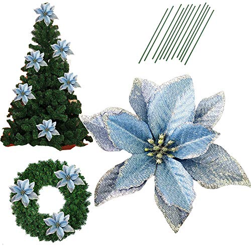 5 Inch Glitter Artifical Wedding Christmas Flowers Glitter Poinsettia Christmas Tree Ornaments Pack of 12 (Blue) (Decorations Turquoise Christmas Tree)