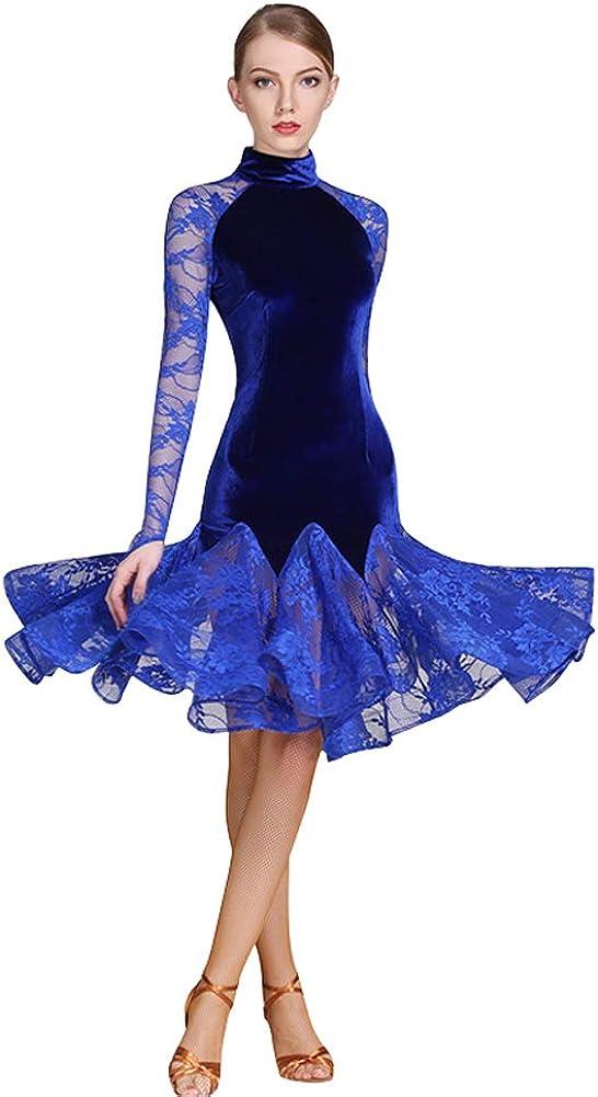 [L-night]レディース 上品 豪華ラテンダンス モダンダンス ワルツ ラテン演出発表会用 競技ダンス練習着 社交ダンスドレス 開場ドレスワンピース ベリーダンス衣装 キャバクラ衣装WDB138  藍M