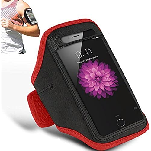 SAMSUNG GALAXY S7 EDGE - Adjustable Armband Gym Running Jogging Sports Case Cover Holder + Polishing Cloth ( Red ) Sales