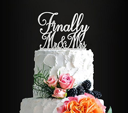 Glitter Silver Finally Mr&Mrs Romantic Wedding Cake Topper, Elegant Cake Topper For Wedding Anniversary, Wedding Party Decorative Cake Toppers, Birthday Cake Topper Acrylic Cake Topper ()