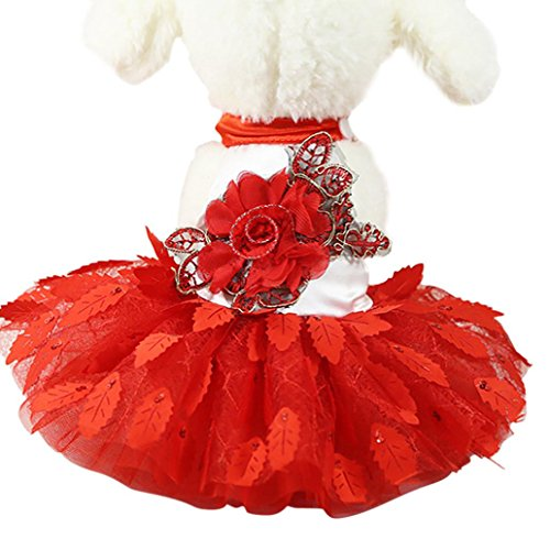 Funic Wedding Dress Pet Puppy Clothes for Small Dogs Lace Cat Skirt Party Princess Pet Apparel Red