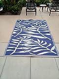 Lightweight Indoor Outdoor Reversible Plastic Area Rug - 5.9 x 8.9 Feet - Leaf Pattern - Blue/White