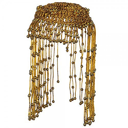 [Egyptian Queen Cleopatra Gold Beaded Headdress] (Pharaoh Headdress)
