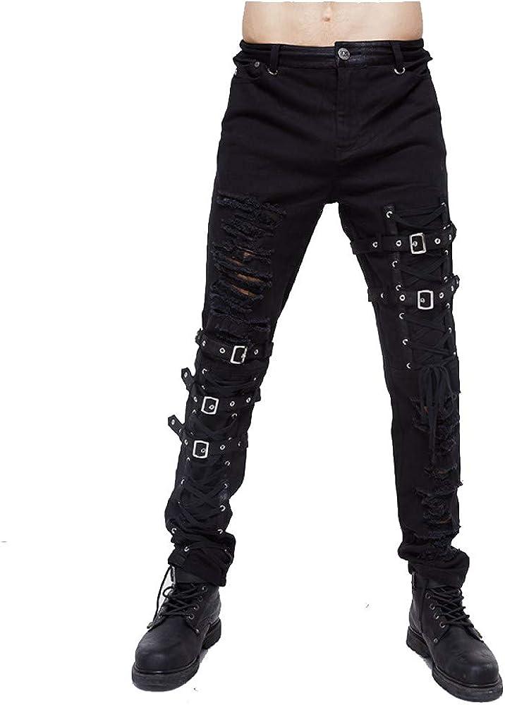 Tactical Lace Hole Belt Pants for Men Black Skinny Jeans