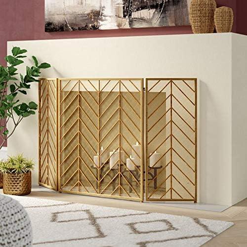 屋外ヘビーデューティ暖炉スクリーン、ゴールド3パネルアールデコスパークガード、無料スタンディング