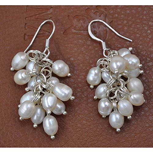 HUANHUAN Earrings Freshwater Pearl Handcraft Grape Shape Dangle Earring S925 Hook