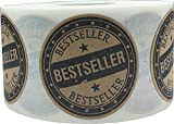Brown Kraft with Black Best Seller Stickers, 1.5 Inches Round, 500 Labels on a Roll