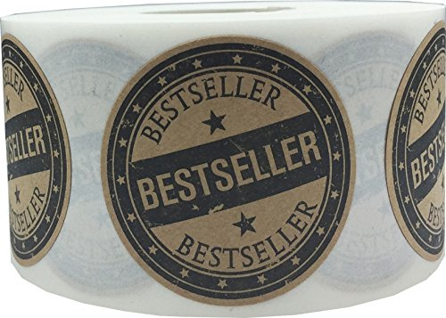 Brown Kraft with Black Best Seller Stickers, 1.5 Inches Round, 500 Labels on a Roll by InStockLabels.com