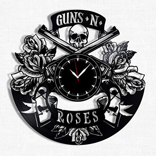 Guns N Roses Vinyl Record Clock - Wall Clock Guns N' Roses Hard Rock Band - Best Gift for Hard Rock Music Lover - Original Wall Home -