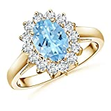 Princess Diana Inspired March Birthstone Aquamarine Ring for Women with Diamond Halo