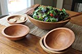 Solid Cherry Wood Five Bowl Salad Set with 15 inch bowl, 4 side bowls, 12 Inch Servers and 8 0z Tub of Bee's Oil Salad Bowl & Wood Conditioner - Holland Bowl Mill