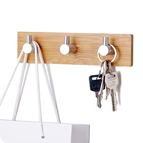 Self-Adhesive Key Holder for Wall, Small Wall Hook Rack Stainless Steel for  Kitchen Bathroom Cabinet, Modern Decorative Natural Bamboo Key Rack Holder  ...