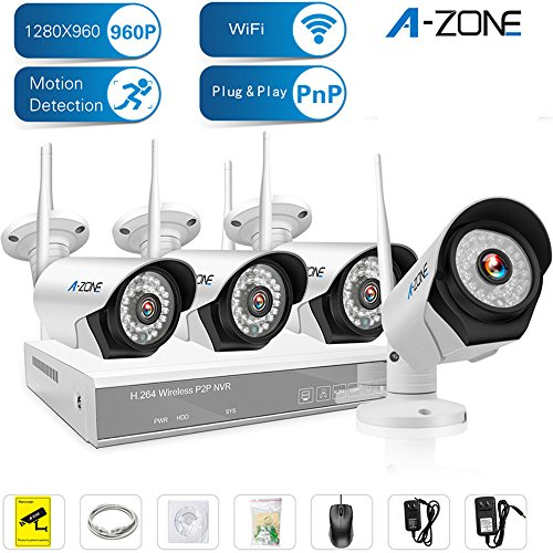 A-ZONE 4 Channel 960P NVR Wireless Security Cameras System Indoor Outdoor Weatherproof 4x HD 960P WiFi Cameras with Night Vision, Easy Remote View ,Without HDD Ntsc Video System