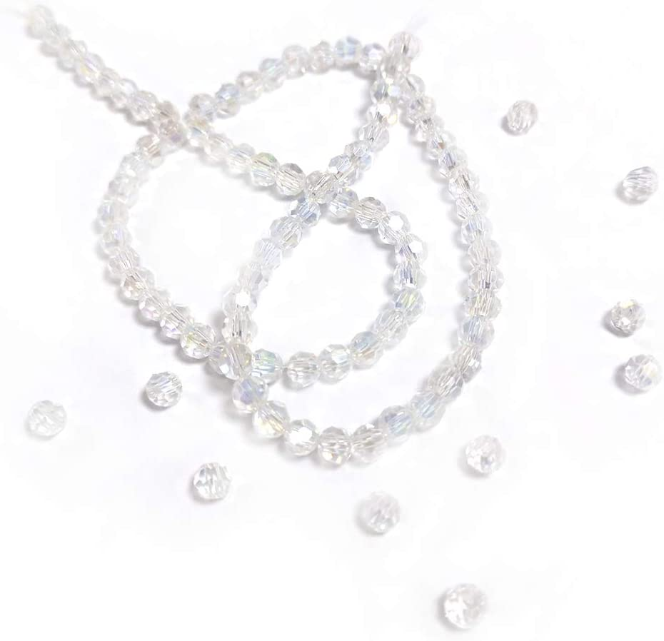 Czech Crystal Beads Clear Faceted Round 10mm AB Strand Of 70+