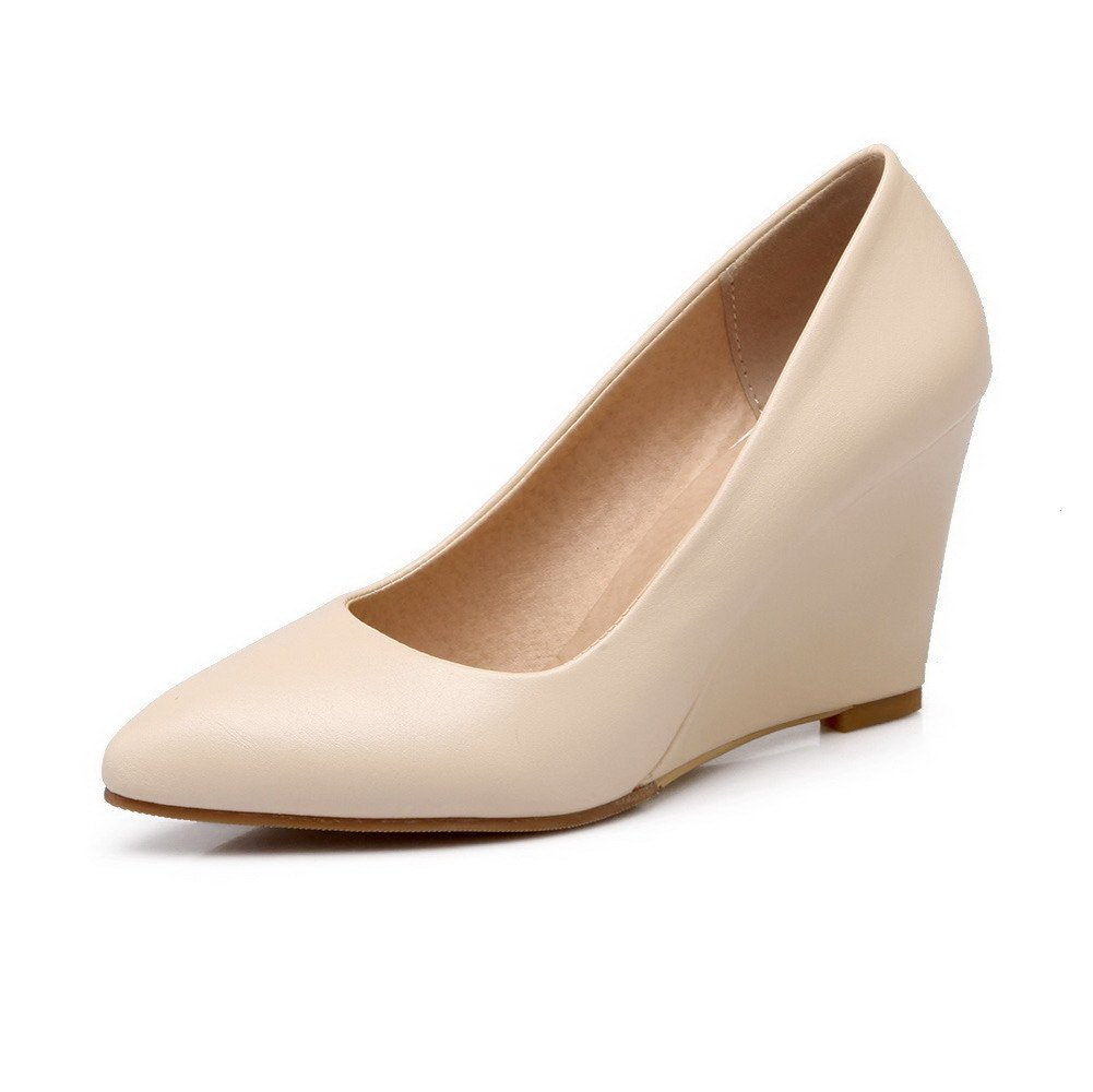 VogueZone009 Women's Soft Leather Pointed Closed Toe High-Heels Pull-on Solid Pumps-Shoes, Beige, 36