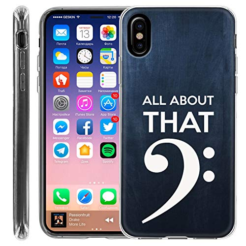 [Mobiflare] Apple iPhone X, iPhone XS [Clear] Ultraflex Thin Gel Phone Cover [Bass Clef Print]