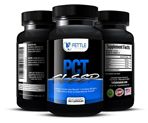 Pct Sleep Post Cycle Supplement Amino Acid Complex BCAA 3200mg Post Cycle Support Sleep Aid For Recovery Muscle Gain 30 Day Cycle Supplement Top Rated PCT Fettle Botanical 150 capsules - Sleep Booster