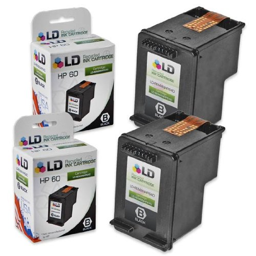 LD © Remanufactured Replacement Ink Cartridges for Hewlett Packard CC640WN (HP 60) Black (2 Pack)