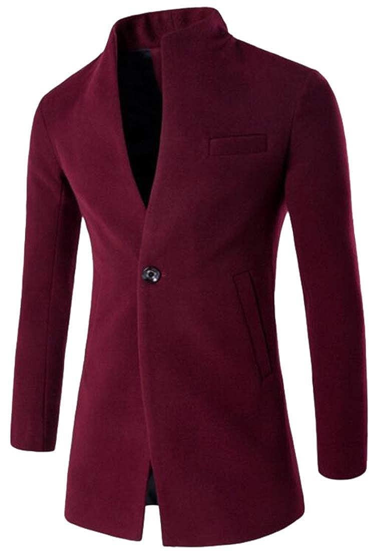 Wine Red hower Men's Trench Coat Long Wool Blend Slim Fit Jacket Wool Pea Coat Overcoat