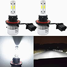 Alla Lighting 8000lm Xtremely Super Bright 6500K Xenon White High Power Mini H13 9008 LED Headlight Bulbs Conversion Kits Lamps Replacement