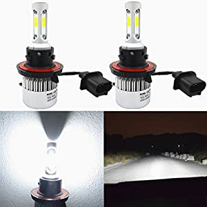 Alla Lighting 8000lm Xtremely Super Bright 6500K Xenon White High Power Mini H13 9008 H13LL LED Headlight Bulbs Conversion Kits Lamps Replacement