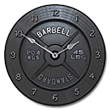 Barbell Wall Clock, Available in 8 sizes, Most Sizes Ship the Next Business Day, Whisper Quiet.