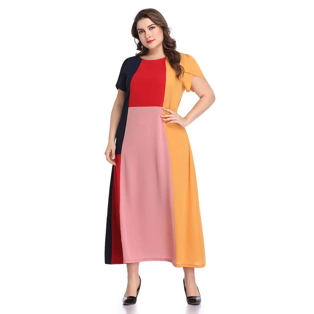 Amazon.com: VonVonCo Plus Size Women Short Sleeve Patchwork O-Neck ...