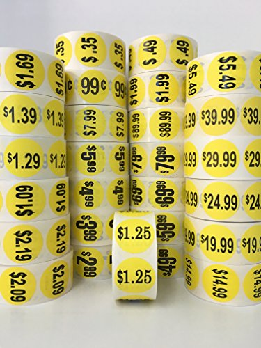 "1000 Labels 1.5"" Round Yellow $1.99 Pricing Price Point Retail Stickers 1 Roll"