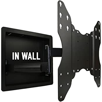 in wall recessed full motion tv mount with zero clearance for 32 to 55 inch tvs lcd led or. Black Bedroom Furniture Sets. Home Design Ideas