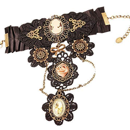 MEiySH Gothic Lolita Retro Steampunk Gear Lace Slave Bracelet Wristband Black Flower Ring (Black002) -