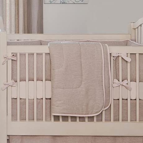 Carousel Designs Light Pink Linen 3 Piece Crib Bedding Set