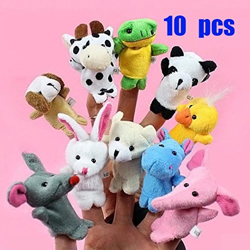 10 Cartoon Animal Finger Puppet Plush Toys - 8