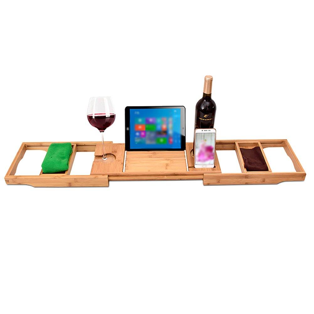 Wine Rack Bamboo Bathtub Wine Mobile Phone Support Adjustable Bathroom Wine Holder Storage Shelf SPA Artifact