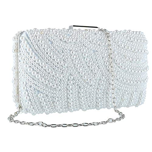 White with Bag Pearl CTM Women's Design Swirl Evening nS0pB