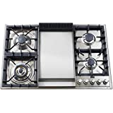 Ilve UXLP90F 36 Built In Gas Cooktop with 4 Brass Burners Griddle Flame Failure Safety Device Cast Iron Grates and Deep Recessed Spill Trays: Stainless