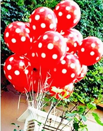 Sopeace 50 pcs 12inch 2.8g black red white Polka Dot balloon colors inflatable latex balloons for wedding birthday party decoration (50 Red White -