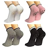 Lantee Non Slip Skid Yoga Pilates Socks with Grips Cotton for Women Pack of 4