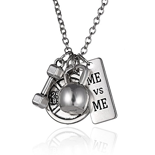 Bell Charm Necklace - iDMSON Stainless Steel Fitness Gym Necklace - Unisex Weight Lifting Barbell Kettlebell Dumbbell Workout Exercise Silver Charm Pendant Necklaces (ME vs ME)