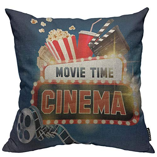 Mugod Cinema Movie Poster Decoration Throw Pillow Cushion Covers Popcorn,Filmstrip,Clapboard,Tickets and Movie Time Banner Shining Sign Print Funny Pillows Home Decor Couch Pillow Case 18 X 18 Inch ()