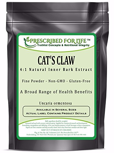 Cat's Claw - 4:1 Natural Inner Bark Extract Powder - (Uncaria ormentosa), 4 oz