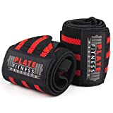Wrist Wraps (Premium Quality,18'') by Plate Fitness Products – Superior Materials – Weight Lifting, Powerlifting, Crossfit, Strength Training – One Size Wrist Support for Men and Women