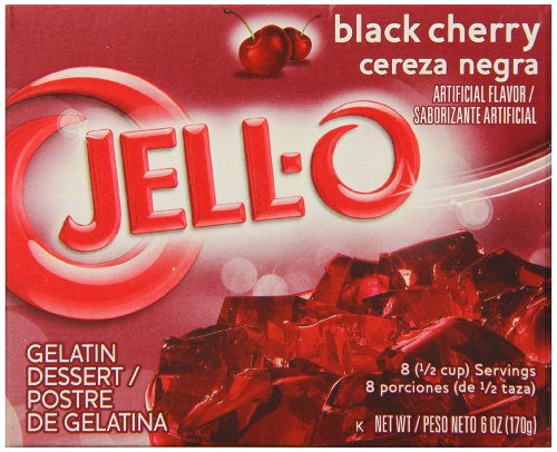 - JELL-O Black Cherry Gelatin Dessert Mix (6 oz Boxes, Pack of 6)