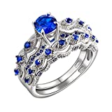 Newshe 1.3 CT Round Created Blue Sapphire 925 Sterling Silver Engagement Ring Set Size 5